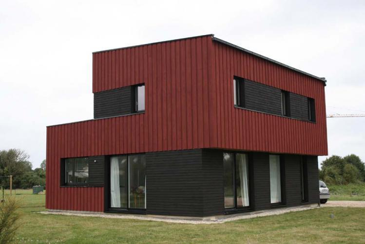 Bardage structur bois - Rouge de falun ...